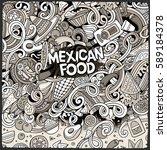 cartoon cute doodles hand drawn ... | Shutterstock .eps vector #589184378