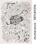 cartoon hand drawn doodles... | Shutterstock .eps vector #589184396