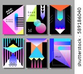 set of artistic colorful cards. ... | Shutterstock .eps vector #589186040