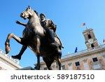 piazza del campidoglio   statue ... | Shutterstock . vector #589187510