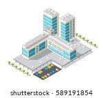 tourist hotel is 3d isometric... | Shutterstock .eps vector #589191854