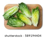 Small photo of romaine lettuce on kitchen board