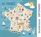 vector stylized map of france.... | Shutterstock .eps vector #589196000