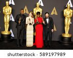Small photo of Viola Davis, Casey Affleck, Mahershala Ali and Emma Stone at the 89th Annual Academy Awards - Press Room held at the Hollywood and Highland Center in Hollywood, USA on February 26, 2017.