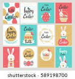 set of happy easter cards with... | Shutterstock .eps vector #589198700