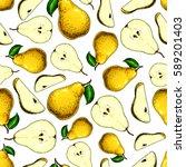 pear vector seamless pattern.... | Shutterstock .eps vector #589201403