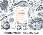 healthy food frame vector... | Shutterstock .eps vector #589202660