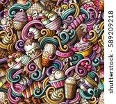 cartoon hand drawn ice cream...   Shutterstock .eps vector #589209218