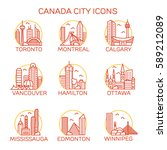 canada city icons. vector... | Shutterstock .eps vector #589212089