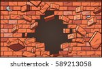 broken brick wall. vector clip... | Shutterstock .eps vector #589213058