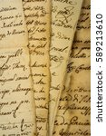 pile of old vintage manuscripts | Shutterstock . vector #589213610