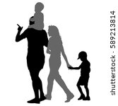 silhouette of happy family on a ... | Shutterstock .eps vector #589213814