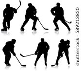 set of silhouettes hockey... | Shutterstock .eps vector #589213820