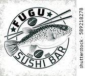 vintage sushi bar logo design   ...   Shutterstock .eps vector #589218278