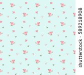 Stock vector seamless pattern in small flower cute floral background vector illustration 589218908