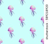 vector pattern with jellyfish   Shutterstock .eps vector #589218920
