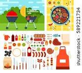 grill set flat illustrations.... | Shutterstock . vector #589221734