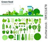 green food flat illustrations.... | Shutterstock . vector #589221878