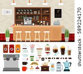 coffee shop illustration set... | Shutterstock . vector #589224170