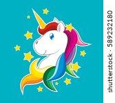 unicorn cartoon vector with... | Shutterstock .eps vector #589232180