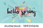hello spring poster  banner in... | Shutterstock .eps vector #589243646