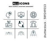 set of 9 business management... | Shutterstock .eps vector #589249313