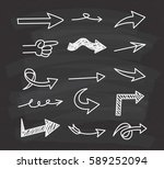 set of arrow doodle on... | Shutterstock . vector #589252094