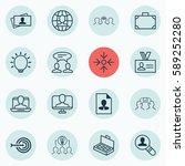 set of 16 business management... | Shutterstock .eps vector #589252280