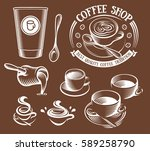 isolated brown color cup in... | Shutterstock .eps vector #589258790