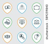 set of 9 business management... | Shutterstock .eps vector #589259840