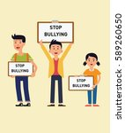 kids stop bullying campaign | Shutterstock .eps vector #589260650