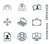 set of 9 business management... | Shutterstock . vector #589261628