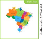 the detailed map of the brazil... | Shutterstock .eps vector #589262564