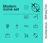 set of 12 traveling icons.... | Shutterstock . vector #589262744
