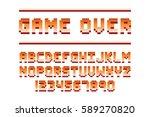 pixel retro font computer game... | Shutterstock .eps vector #589270820