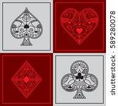 a set of fancy poker suits in... | Shutterstock .eps vector #589280078