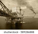 offshore construction platform... | Shutterstock . vector #589286888