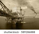 offshore construction platform... | Shutterstock . vector #589286888