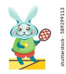 hare is with a tennis racket. | Shutterstock .eps vector #589299113