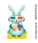 rabbit sits with popcorn and a... | Shutterstock .eps vector #589299143