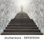 businessman climbed on top of... | Shutterstock . vector #589305044