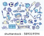 sport doodle background | Shutterstock . vector #589319594