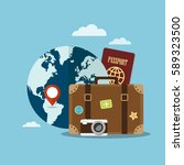 suitcase and world globe.... | Shutterstock .eps vector #589323500