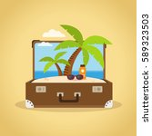 composition with a suitcase and ... | Shutterstock .eps vector #589323503