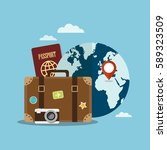 suitcase and world globe.... | Shutterstock .eps vector #589323509