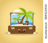 composition with a suitcase and ... | Shutterstock .eps vector #589323554