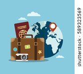 suitcase and world globe.... | Shutterstock .eps vector #589323569