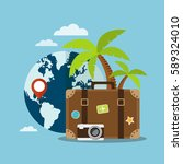 suitcase and world globe.... | Shutterstock .eps vector #589324010