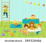 kids playroom with light... | Shutterstock .eps vector #589328486