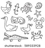 Stock photo set of cartoon animal doodle 589333928